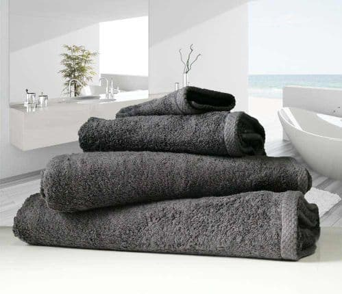 linenHall 500gsm Combed Organic Cotton Bath Towels Charcoal